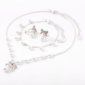 Claire's Club Pearl Bow Jewellery Set - Pink,