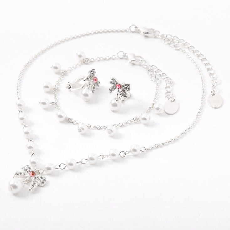 Claire's Club Pearl Bow Jewelry Set - Pink