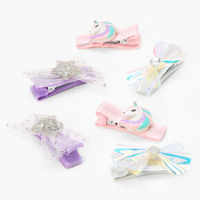 Claire's Club Unicorn Hair Clips - Lilac, 6 Pack,