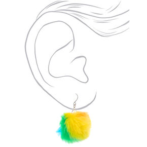 "Silver 2"" Rainbow Pom Pom Drop Earrings,"