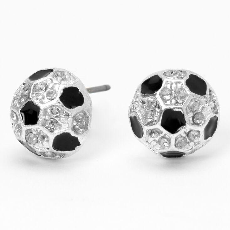 Silver Embellished Soccer Ball Stud Earrings,