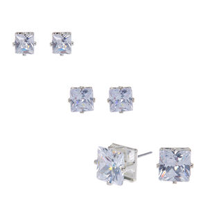 Silver Cubic Zirconia Graduated Square Stud Earrings 3 Pack