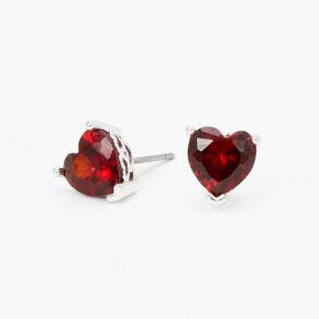 Red Cubic Zirconia Heart Stud Earrings,