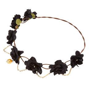 Gold Chain Flower Crown Headwrap - Black,