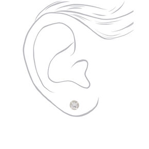 Silver Cubic Zirconia Halo Round Stud Earrings,
