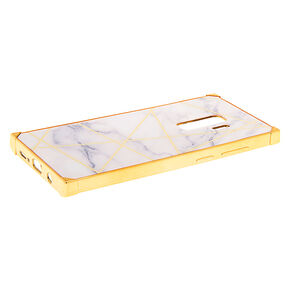 White & Gold Marble Geometric Square Phone Case - Fits Samsung Galaxy S9 Plus,