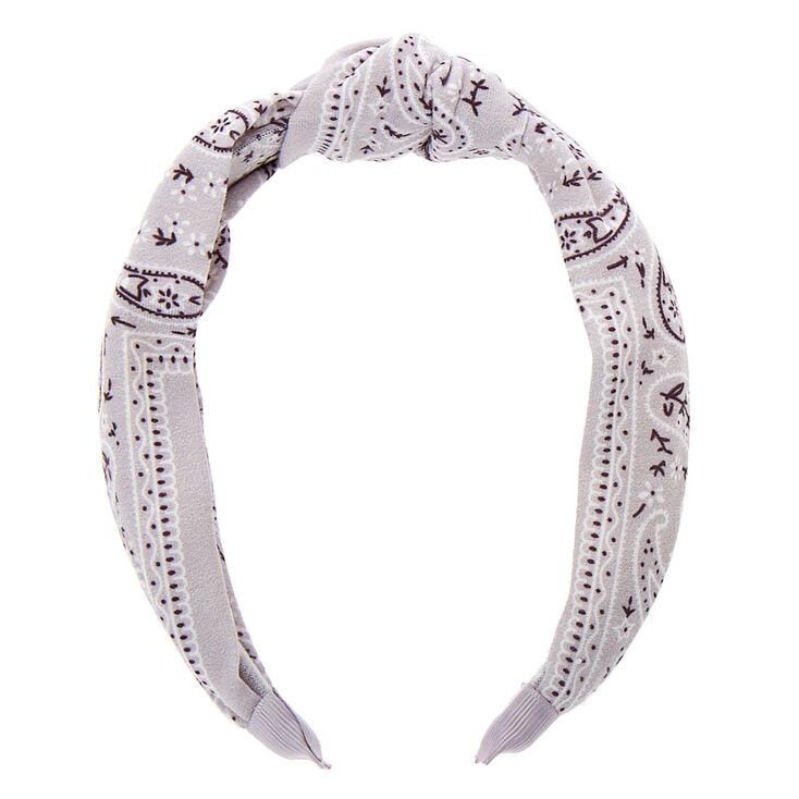 Bandana Knotted Headband - Light Grey,