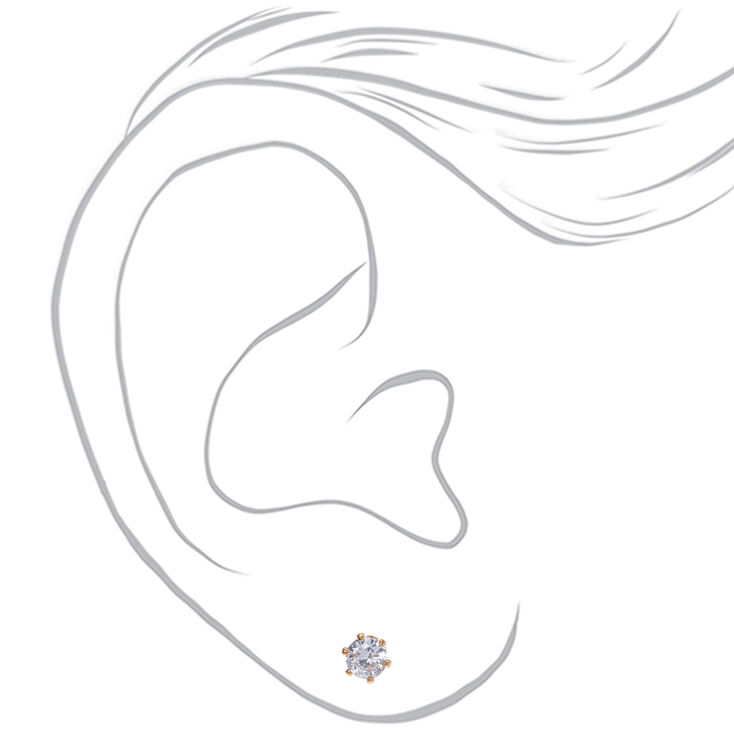 18kt Gold Plated Cubic Zirconia Round Stud Earrings - 4MM,