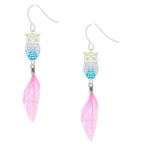 """2.5"""" Rainbow Glitter & Feather Owl Drop Earrings,"""