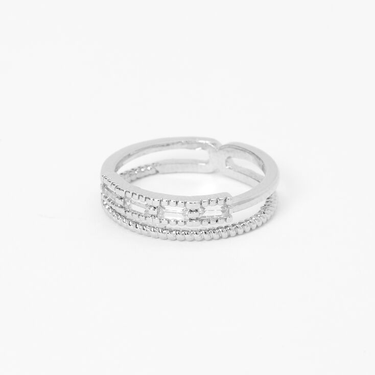 Silver Cubic Zirconia Stone Midi Ring,