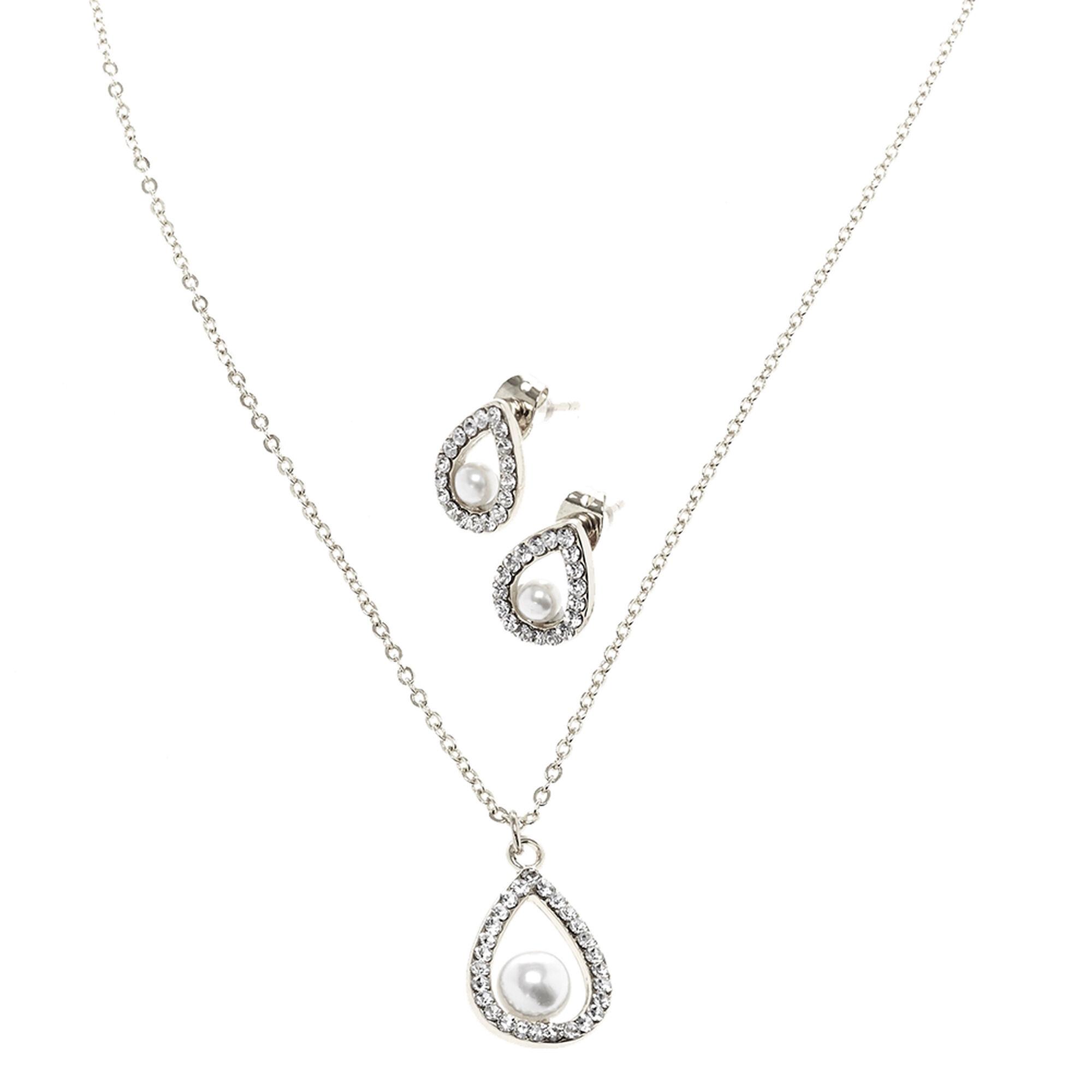 full set teardrop pendant. Silver-tone White Faux Pearl Teardrop Pendant Necklace \u0026amp; Earring Set Full A