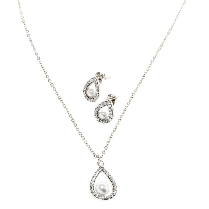 Silver tone white faux pearl teardrop pendant necklace earring set silver tone white faux pearl teardrop pendant necklace amp aloadofball Image collections