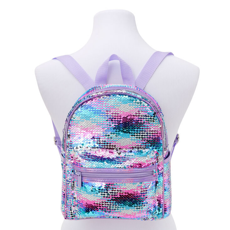 Reversible Sequin Small Backpack - Purple,