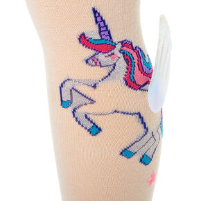 3D Unicorn Wings Knee High Socks - White,