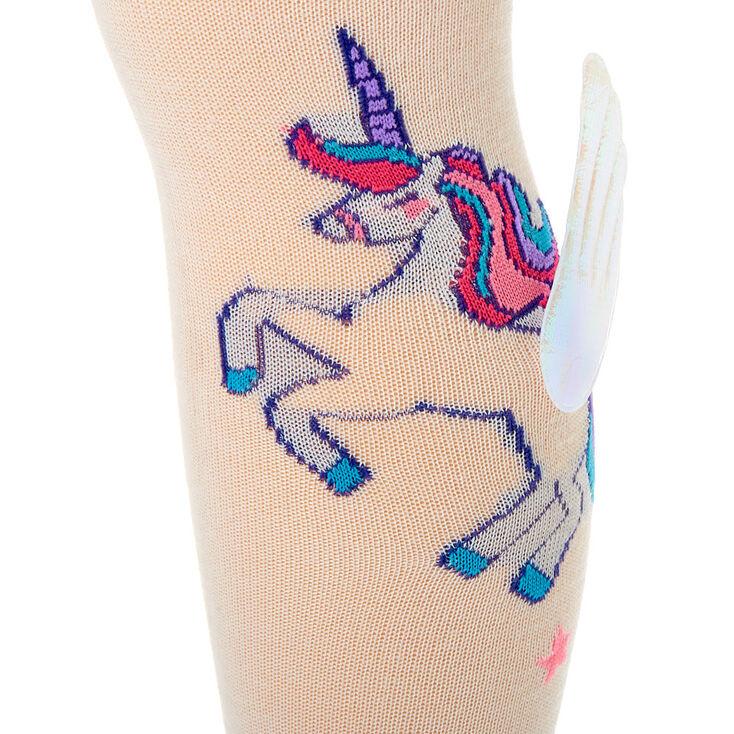3D Unicorn Wings Knee High Socks - White,