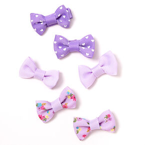 Claire's Club Floral Polka Dot Bow Hair Clips - Purple, 6 Pack,