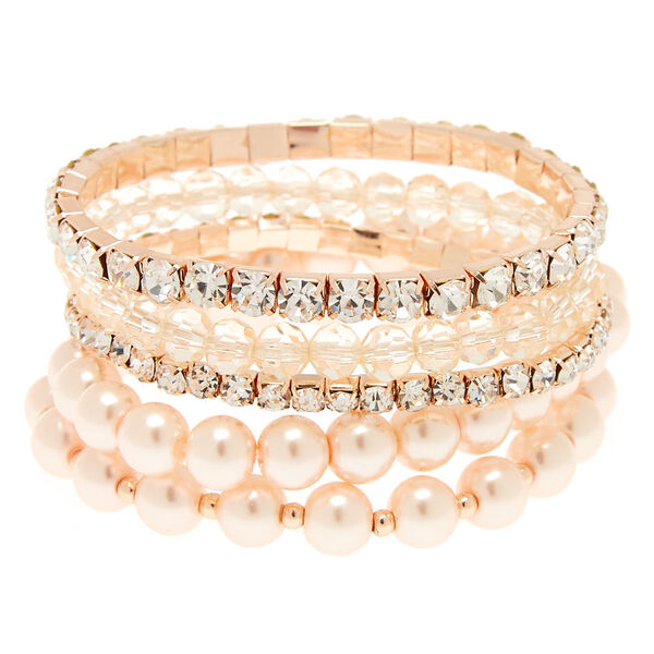 Claire's - rose pearl stretch bracelets - 1