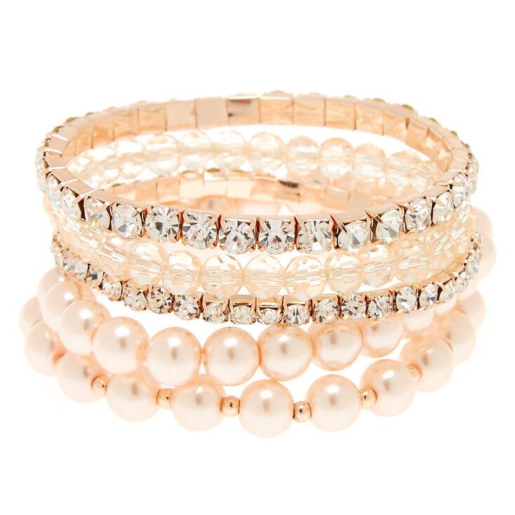 Rose Gold Tone Blush Faux Pearl Bracelet Set