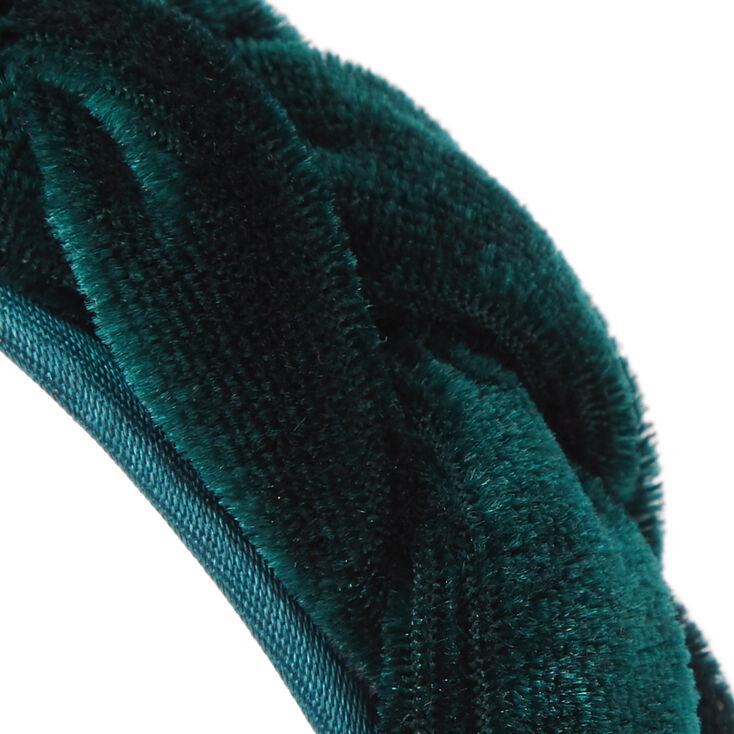 Serre-tête en imitation velours tressé – Vert émeraude,