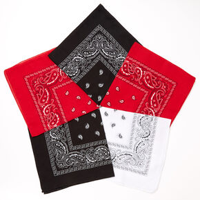 Black, Red, & White Paisley Bandana Headwraps - 5 Pack,
