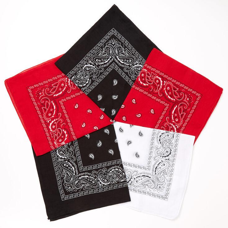Black, Red, & White Paisley Bandana Headwraps - 5 Pack,