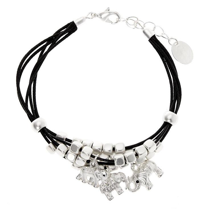 Silver Elephant Beaded Cord Bracelet - Black,