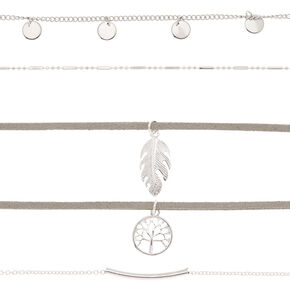 Silver Tree Of Life Choker Necklaces - 5 Pack,