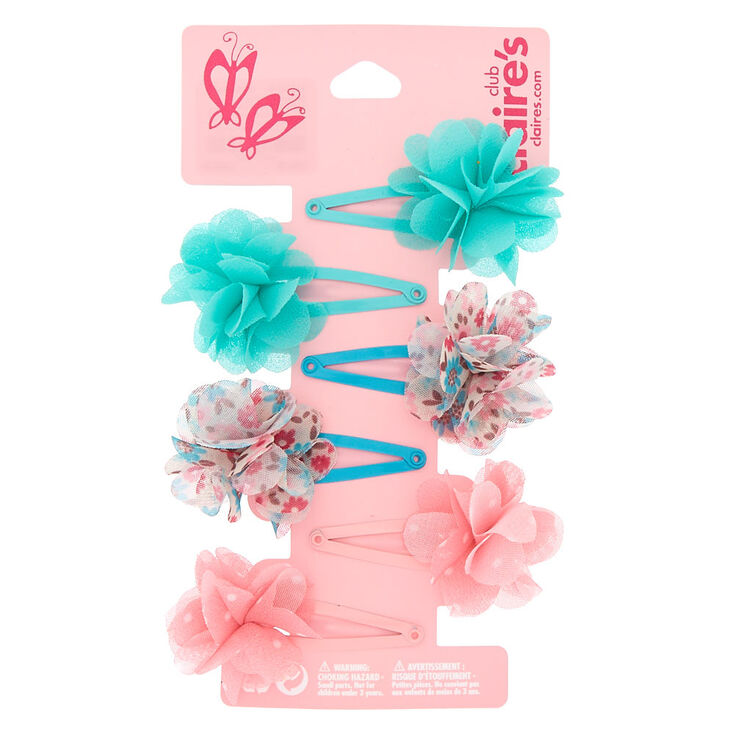 Claire's Club Floral Snap Hair Clips - 6 Pack,