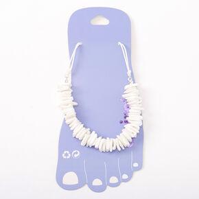 Puka Shell Anklet - White,