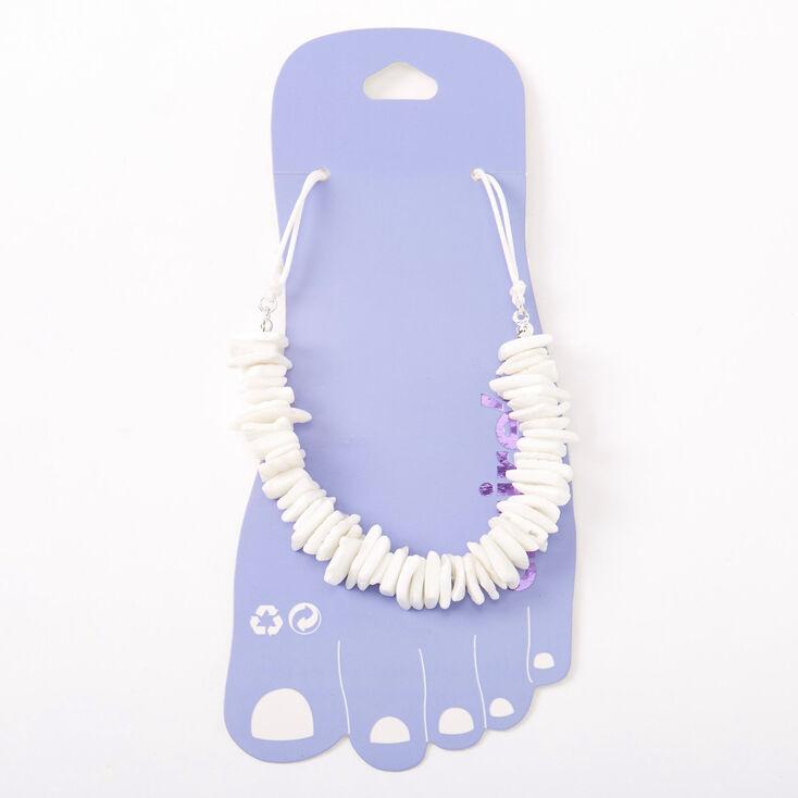 Bracelet de cheville avec coquillage puka - Blanc,