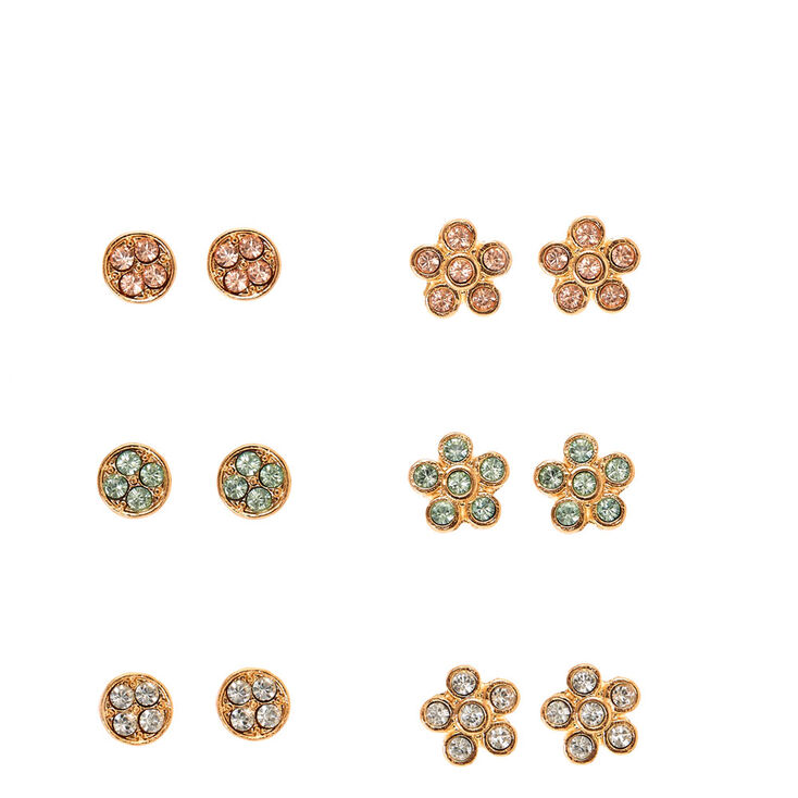 Gold Tone Framed Crystal Daisy And Circle Stud Earrings