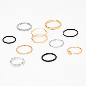 Mixed Metal Geometric Textured Rings - 10 Pack,