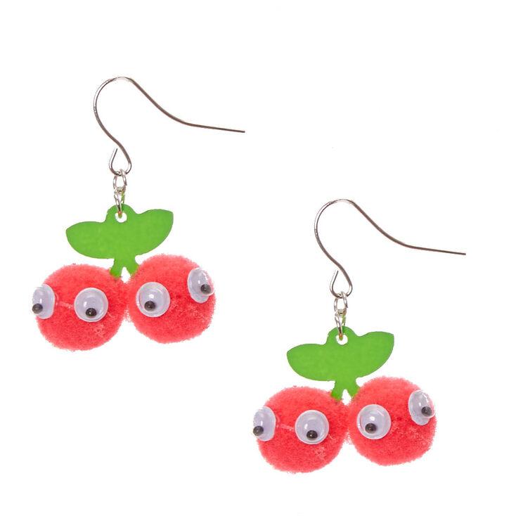 44276e051f58ad Cherry Pom Pom Drop Earrings   Claire's