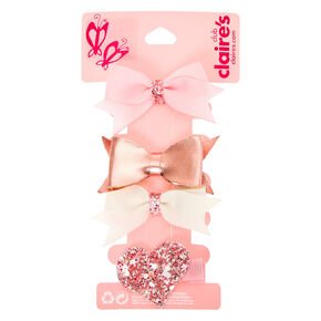 Claire's Club Gltiter Heart Hair Bow Clips - Pink, 4 Pack,