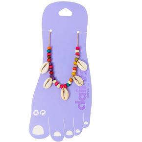 Bracelet de cheville coquillage cauri avec perle d'imitation arc-en-ciel couleur doré,
