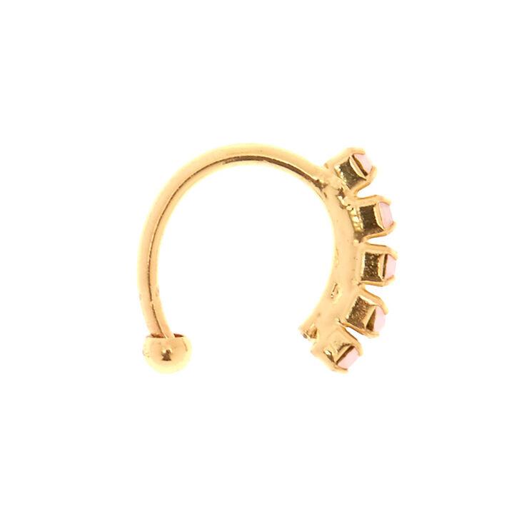 Faux anneau de nez couleur doré à opale d'imitation rose tendre,
