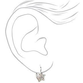 Silver 10MM Crystal Star Huggie Hoop Earrings,