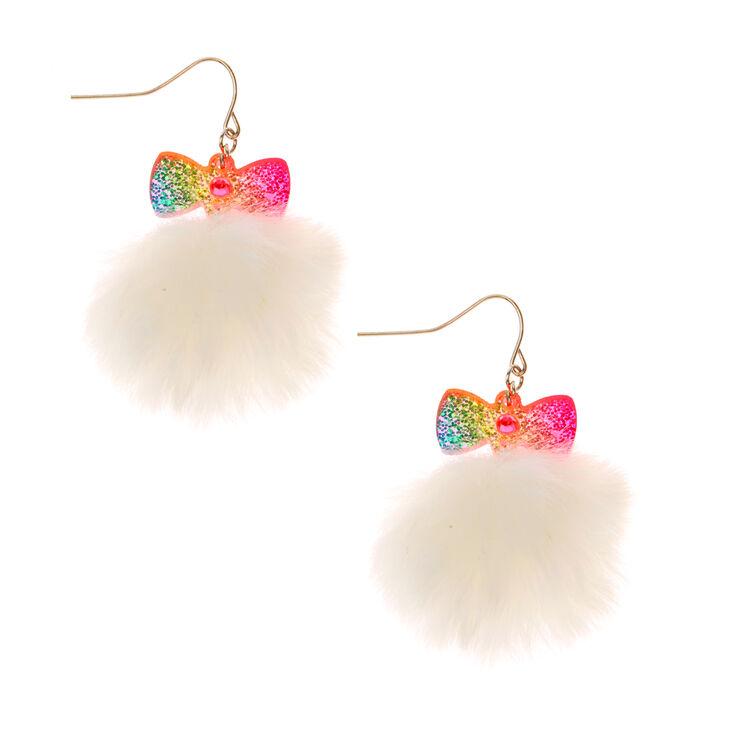 Rainbow Bow Pom Earrings,
