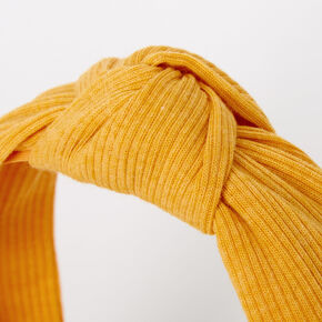 Ribbed Knotted Headband - Mustard,