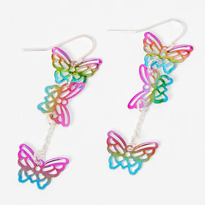 "Silver 2"" Rainbow Butterfly Drop Earrings,"