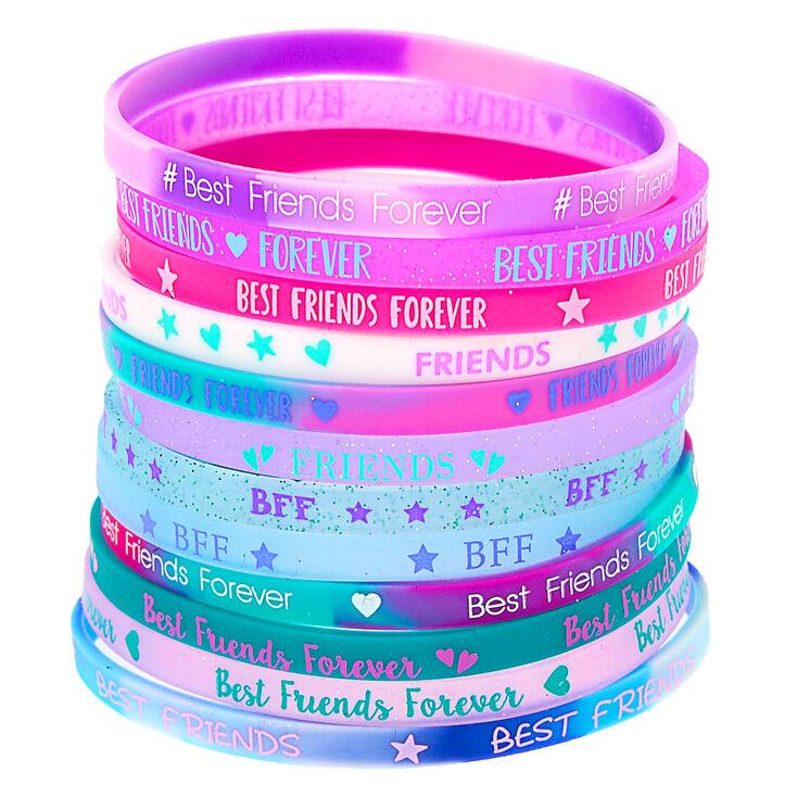 Rubber Friendship Bracelets - Purple, 12 Pack,