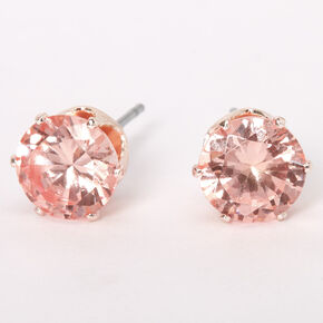 Rose Gold Cubic Zirconia Silk Round Stud Earrings - Pink, 8MM,