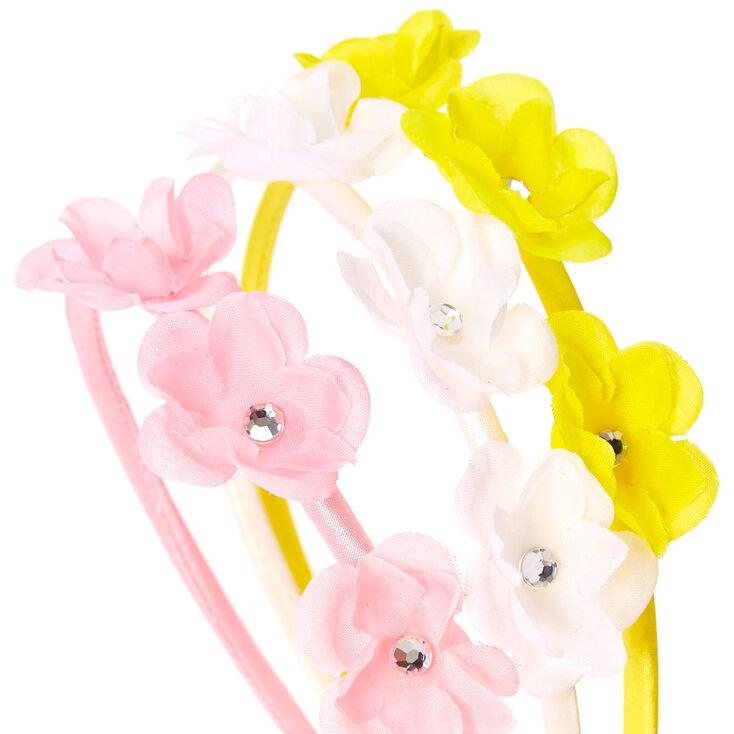 Trois serre-têtes à fleurs pastel pour enfants,
