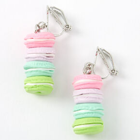 "Silver 1"" Rainbow Macaron Clip On Drop Earrings,"