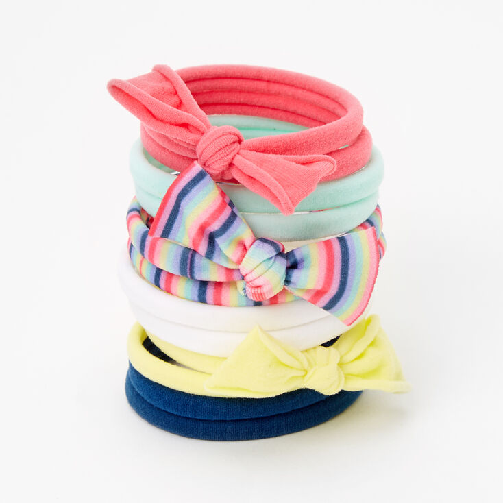 Claire's Club Multicolor Bow Rolled Hair Ties - 12 Pack,