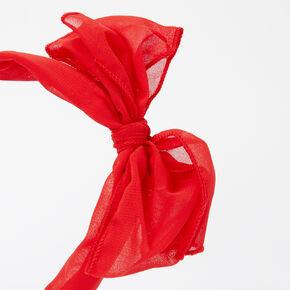 Chiffon Knotted Bow Headband - Red,