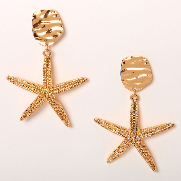 "Gold 2"" Big Starfish Drop Earrings,"