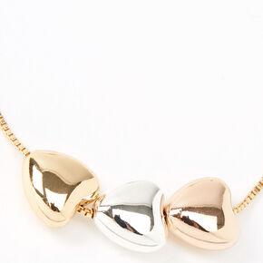 Gold, Rose Gold & Silver Triple Heart Chain Bracelet,