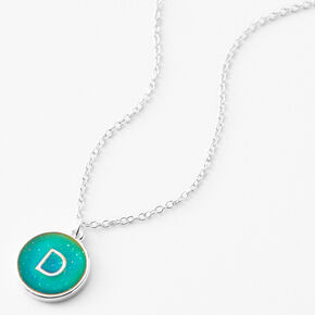 Silver Initial Mood Pendant Necklace - D,