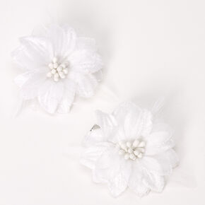 Lily Flower Hair Clips - White, 2 Pack,